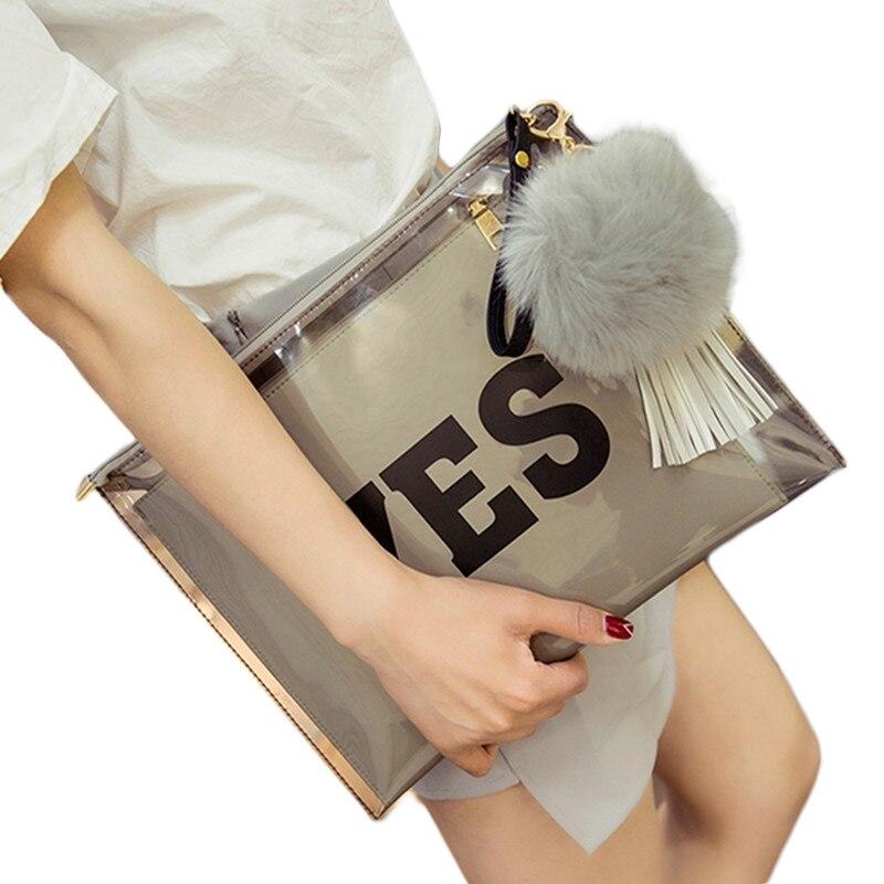 Fur Ball tassels Transparent jelly women clutch bag Printed letters Womens envelope Clutches bolsa franja Handbags evening bags<br><br>Aliexpress