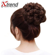 Xtrend Synthetic Curly Chignon Bun Hairpiece For Women 9 Flowers Roller Clip in Fake Hair Accessories High Temperature Fiber(China)