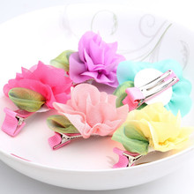 2017 Newly Korea Style Girl Cute Rose Flower Hair Clip 5cm Chiffo Hairpin For Wedding Party Decoration Lovely Hair Accessories