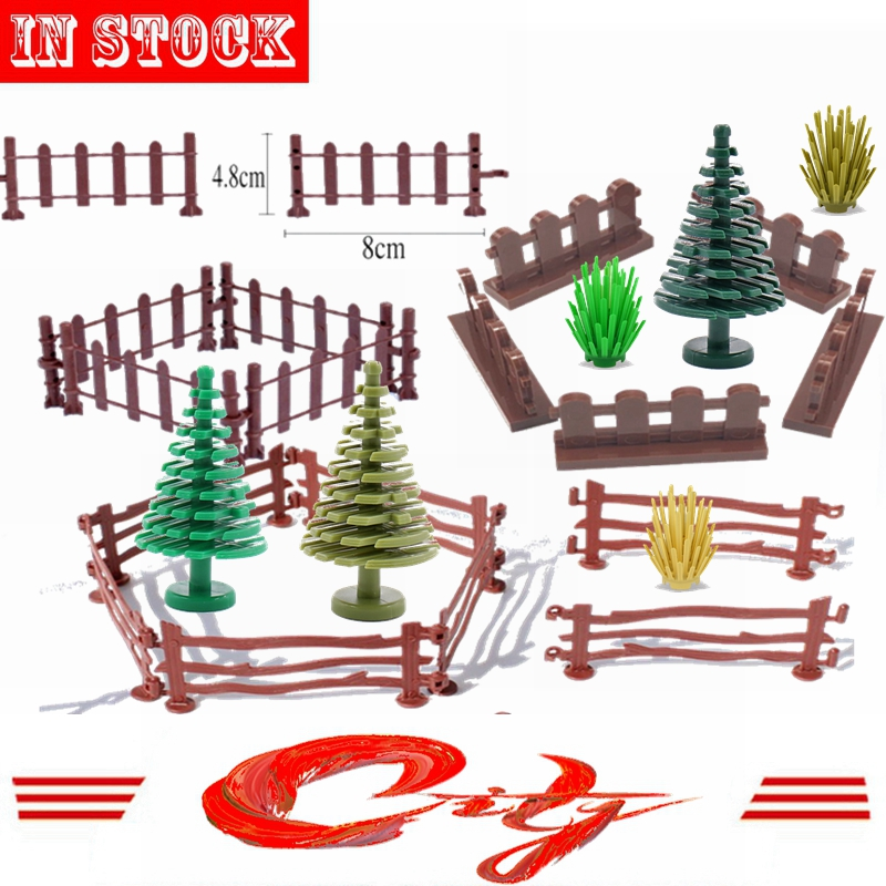 Mailackers Military Accessories MOC Parts Green Bush Flower Grass Tree Plants Guardrail Fence Building Block Kids Toys City Kits