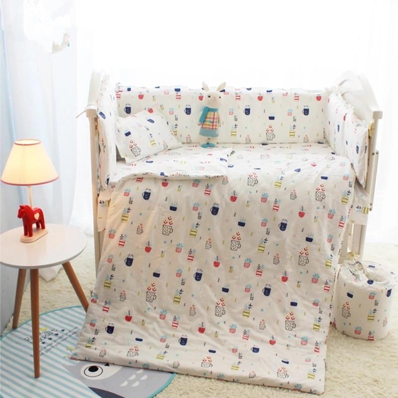 Cartoon Baby Boy Baby Girl Crib Bedding Sets 10Pcs Soft Cotton Children Sleeping Set In a Crib 120*70CM Childrens Bed Linen<br>