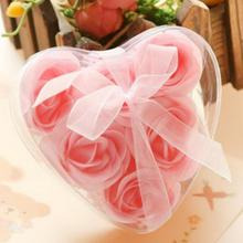 6Pcs Roses in 1 Random Color Handmade Soap Flower Heart Scented Bath Body Petal Rose Flower Soap Wedding Decoration