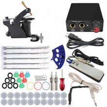 ITATOO Complete Tattoo Kit Cheap Coil Machine Kit Tattoo Machines Set Beginner Equipment Power Supply Clip cord TK108004(China)