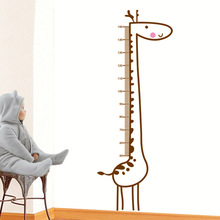Cartoon Giraffe Decal Child Height Measure Chart Vinyl Removable Home Decor Kids Child Room DIY Wall Poster Stickers Mural
