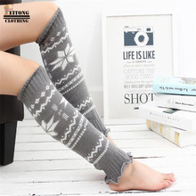 FEITONG Women Winter Christmas Leg Warmer Snowflake Print Knit Crochet High Knee Leg Warmers Boot Socks