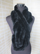 Genuine rex rabbit fur scarf wrap cape black shawl / fur collar