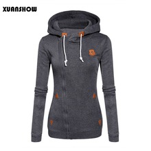 XUANSHOW 2018 Women Fashion Fleeces Sweatshirts Hooded Candy Colors Solid Sweatshirt Long Sleeve Zip Up Clothing Sudaderas Mujer(China)