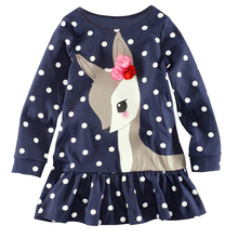 Baby Girls Clothing Dress Kids Girls Long Sleeve O-neck Dress One-piece Dots Deer Cotton Dresses Toddlers Clothes Kids Dress