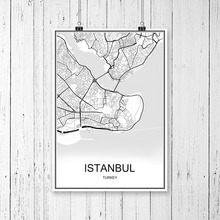 World City Map ISTANBUL Turkey Print Poster Abstract Coated Paper Bar Cafe Pub Living Room Home Decoration Wall Sticker 42x30cm