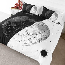 BlessLiving Earth Bulb Bedding Black White Stylish Duvet Cover Day and Night Bedspread Constellation Sun and Moon Bed Set 3pcs(China)