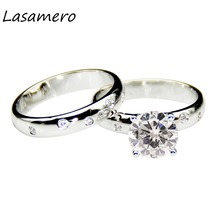 LASAMERO 2.0ct Round Cut Moissanites Center Solid 14k White Gold Wedding Sets Anniversary Ring Lab Grown Diamonds Bridal Sets(China)