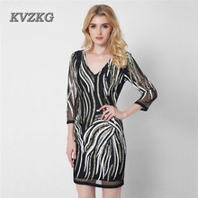 KVZKG 2017 Summer Vintage V Neck Shiny Sequined Mini Dress Paillette Mesh Perspective Sexy Party Pencil Dress Ol Work Wear