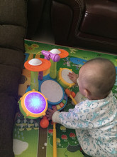 Eletronic hand drum Adjustable volume Light flashing Musical  Instruments Toys Children game with microphone