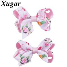 2 Pieces/lot Cute Children's Hairbows Light Pink Grosgrain Ribbon with Printed Flowers Hairclips Girls Hair Accessories(China)