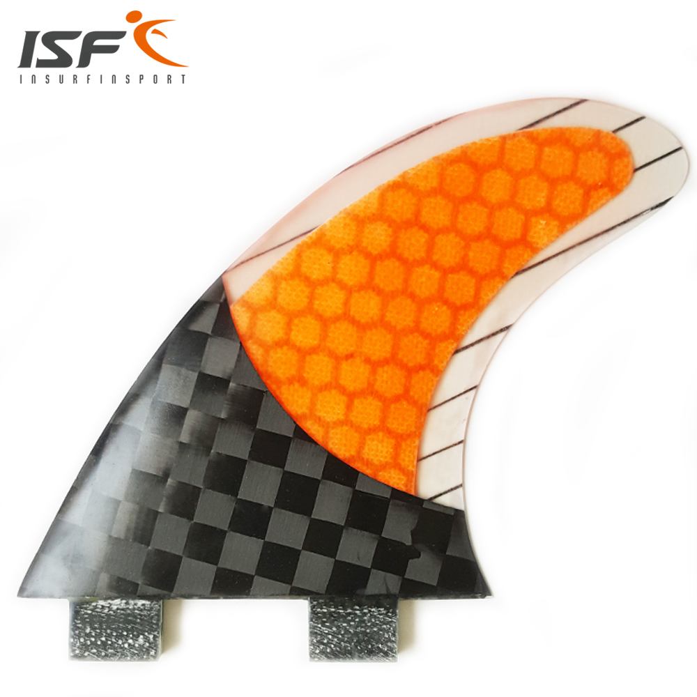 High Quality Insurfin Straight  Carbonfiber Square Half Carbon Surfboard Fins Fin Set Thruster (3) FCS M5 ORANGE<br>