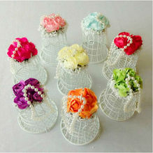 Express Free shipping 50pcs/lot Pearl flower decoration wedding candy box iron white birdcage gift box event & party supplies(China)