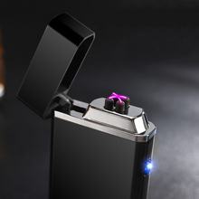 Professional pipe cigar cigarette lighter Anti-wind double Arc creative metal lighters USB charging cigarette lighter