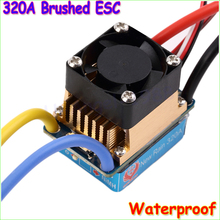 1pcs Waterproof Brushed ESC 320A 3S with Fan 5V 3A BEC T-Plug For 1/10 RC Car Wholesale Dropship(China)
