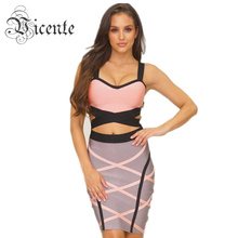 Free shipping! Big Sale Cross Color Block Fashion Two-pieces Set Celebrity Wear Bandage Dress