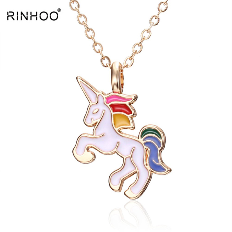 HORSE Necklace For Girls Children Kids Enamel Cartoon Horse jewelry accessories Women Animal Necklace Pendant Unicorn Party(China)
