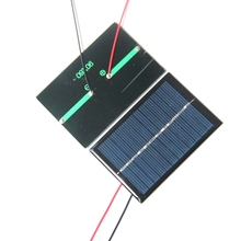 Polycrystalline Silicon Solar Panel Small Solar Panels 0.6W With Black/Red Wire Solar Cells w/ Cable 10pcs/lot Free Shipping