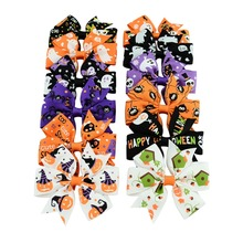 24pcs 12 Colors Pumpkin Halloween Kids Grosgrain Ribbon Bows Barrettes Girl Hairclip Boutique Hairpins Kids Hair Accessories 638(China)