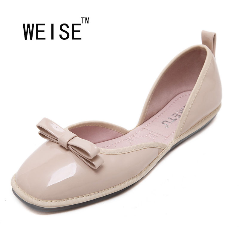 WEISE 2017 New Spring/Summer Womens Flats Shoes Woman Slip On Shoes Soft Ballet Flats Loafers Mocassin Femme Bowtie<br><br>Aliexpress