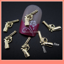 MNS406 Pistol nail design 3d alloy nail charms DIY studs nail art supplies scrapbook arts and crafts accessories 50pcs