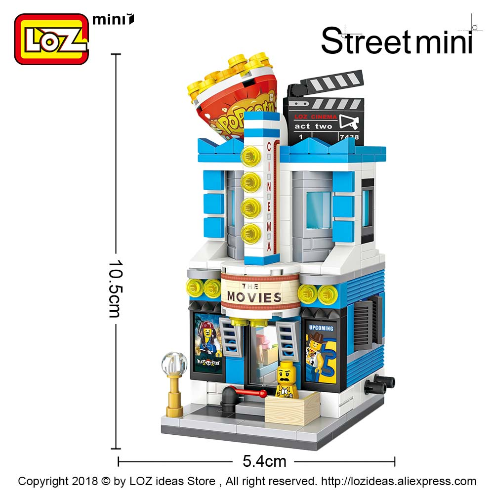 LOZ-Mini-Blocks-Brick-Toy-Cinema-Model-Movie-Theater-Cine-Architecture-Building-Blocks-City-Street-View