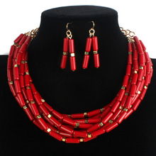 African Bohemian Women Jewelry Sets Multi Layers Firecracker Design Bead Earrings And Necklace Set Masquerade Cocktail Jewellery(China)