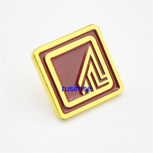 2017 new square metal enterprise LOGO brooch badge custom,Electroplated rose gold metal brooch