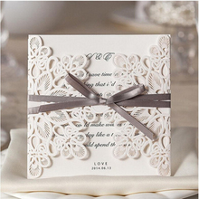 10Pcs Sample White Laser Cut Wedding Invitations Elegant Wedding Invitations Ribbon Invitation Cards With Envelopes