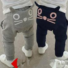 2016 children boys Girls autumn pants Cartoon Cat baby harem pants kids clothes kids pants trousers pantalon garcon 1-4 years