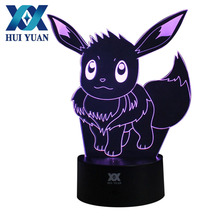 HUI YUAN Eevee 3D Lamp Night Light RGB Changeable Mood Lamp LED Light AC 5V USB Decorative Table Lamp Get a free remote control(China)