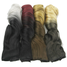 Soowee 24inch Long Curly Black to Gray Hair High Tempreture Synthetic Ombre Hair Piece Women Clip in Hair Extensions