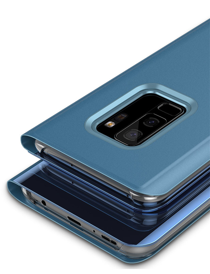 Clear View Mirror Case For Samsung Galaxy A3 A5 A7 2017 J3 J5 J7 For Samsung S8 S9 J6 A6 A8 Plus 2018 S7 Edge Leather Flip Case