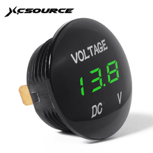 XCSOURCE Universal Digital Display Voltmeter Waterproof Voltage Meter Green LED for DC 12V-24V Car Motorcycle Auto Truck BI314+