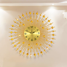 Sitting room wall clock, contemporary and contracted Europe type luminous mute quartz clock, creative, wrought iron wall clock.