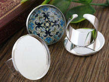 25mm 4pcs Light Silver Plated Brass Adjustable Ring Settings Blank/Base,Fit 25mm Glass Cabochons,Buttons;Ring Bezels K2-02(China)