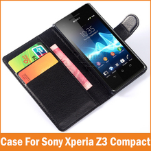 Buy Luxury PU Leather Flip Cover sony xperia z3 compact Case Wallet Stand Card Holder Z3 mini Coque Fundas Capa Phone Bags for $4.49 in AliExpress store