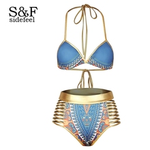 Sidefeel Blue African Tribal Metallic Cutout High Waist Swimsuit LC410260 Sexy Women Summer Bathing Suit Swimwear Beach Biquini