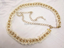 Women's Fashion  Crochet Tiered Lace Pearl Belt, Long size  Dress Decoration Chain metal sexy belly chain