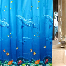 3D Dolphin sea fish PEVA Waterproof Shower Curtain Bathroom Products Bath Curtain cortina de bano with 12 Hooks 180*180cm