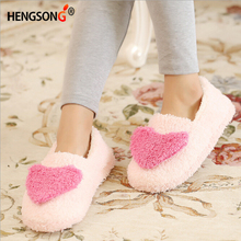 Women Comfortable Slipper Big Heart Decor Slippers Warm Soft Sole Women Short Plush Home Indoor Floor Covered Heel Shoes 914289(China)