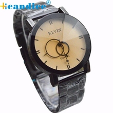 Hot Marketing Hot selling  Fashion Design Black Stainless Steel Band Round Dial Quartz Wrist Watch Men Gift wholesale  Sep16