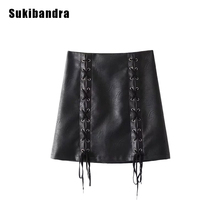 Buy Sukibandra Winter Faux Leather Black Pu Mini Skirt Women Fashion Lace Line Short Skirts Autumn Casual High Waist Skirt for $24.99 in AliExpress store