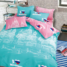 LILIYA Lovely Bedding Set Comfortable Bedding Sets For Kid 4PC Sheet Cover 2 Pillowcases#C-(China)