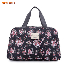 2016 New Fashion Women's Travel Bags Luggage Handbag Floral Print Women Travel Tote Bags Large Capacity PT558(China)