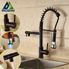 Oil Rubbed Bronze LED Light Hot and Cold Water Kitchen Faucet Deck Mounted Two Swivel Spout Mixer Taps
