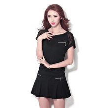 New Chiffon Women Badminton Skirt And T Shirt Suit  O Neck Cotton Female Breathable Solid Tennis Table Suits